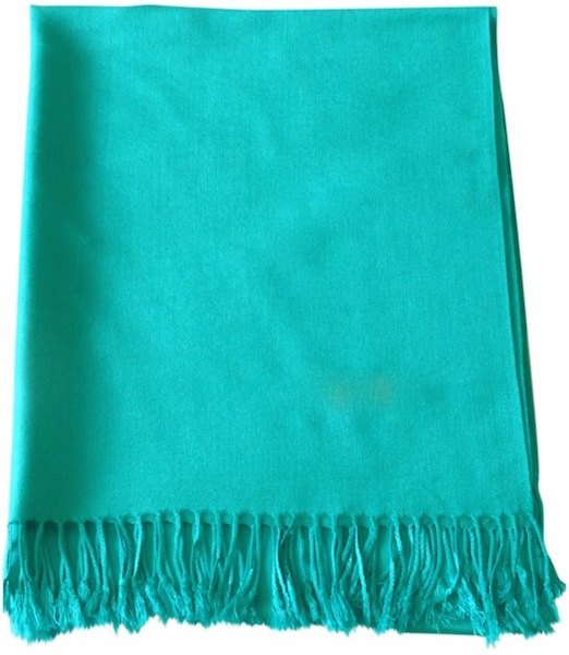 Blue Green Solid Colour Design Shawl Pashmina Scarf Wrap