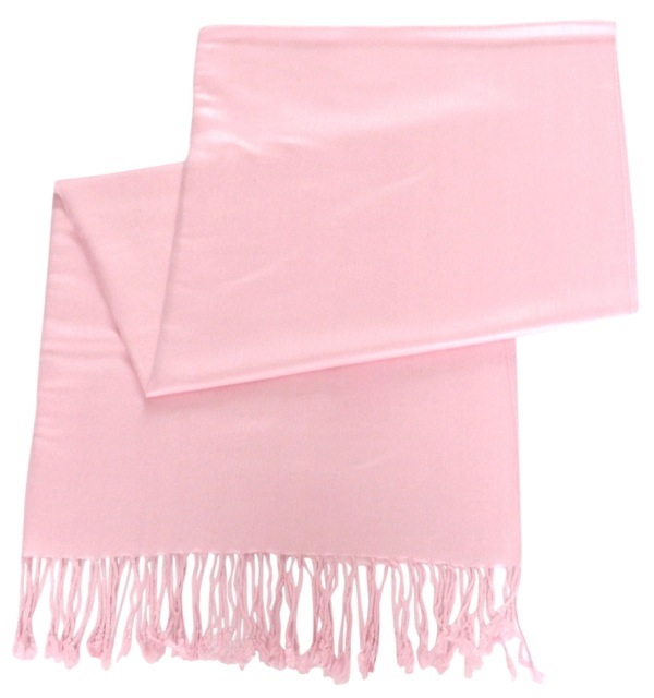Baby Pink Solid Color Design Pashmina Shawl Scarf Wrap