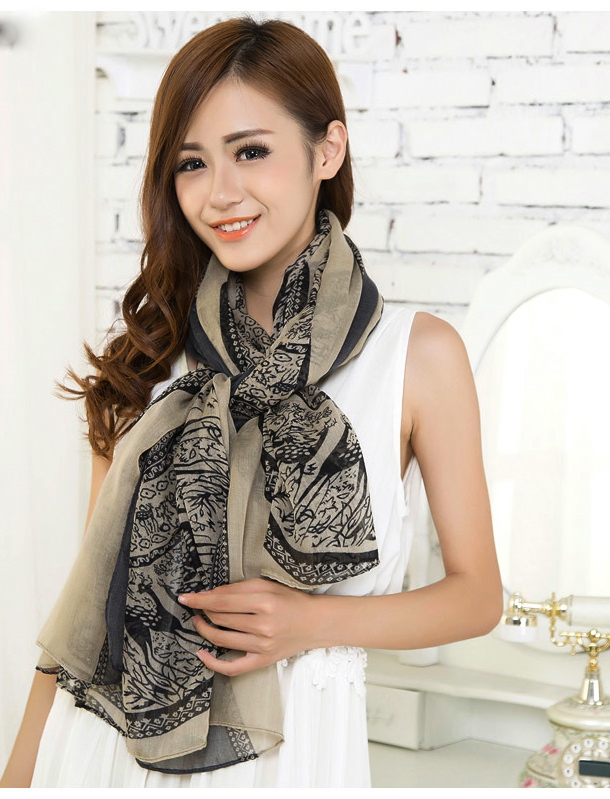 Beige Large Size Fashion Govi Design Voile Pashmina Shawl Scarf Wrap (3 Colors) a1404-738