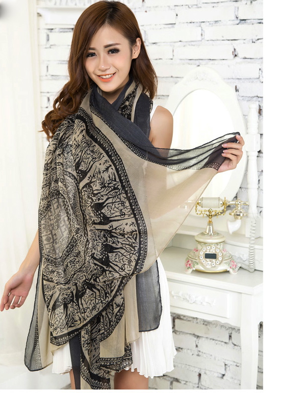 Beige Large Size Fashion Govi Design Voile Pashmina Shawl Scarf Wrap (3 Colors) a1404-278