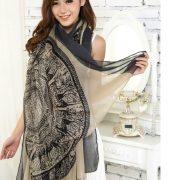 Beige Large Size Fashion Govi Design Voile Pashmina Shawl Scarf Wrap (3 Colors) a1404-737