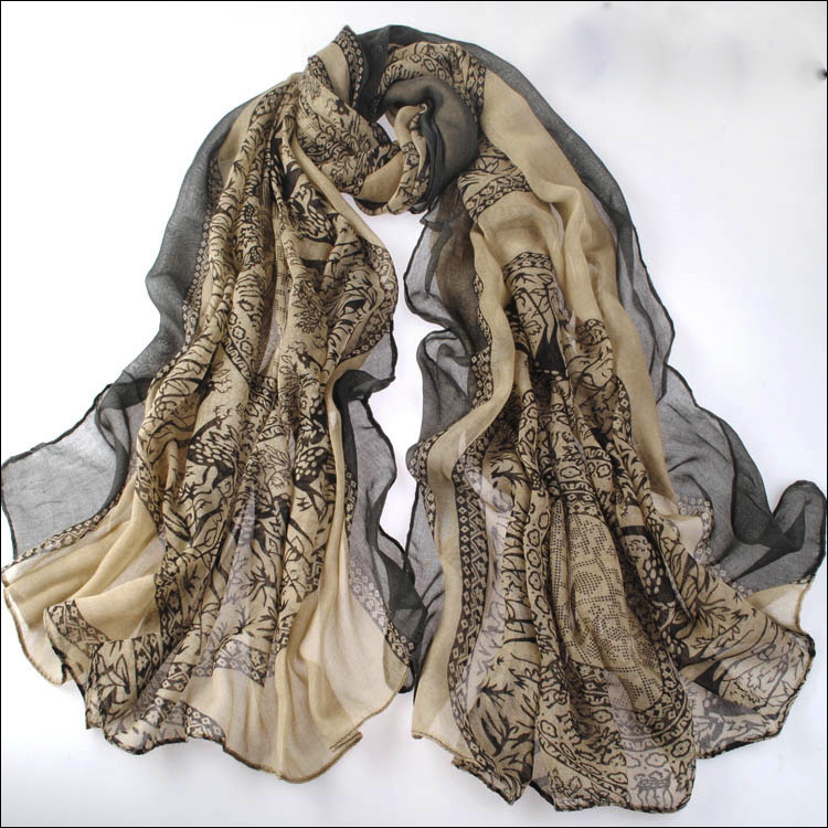 Beige Large Size Fashion Govi Design Voile Pashmina Shawl Scarf Wrap (3 Colors) a1404-739