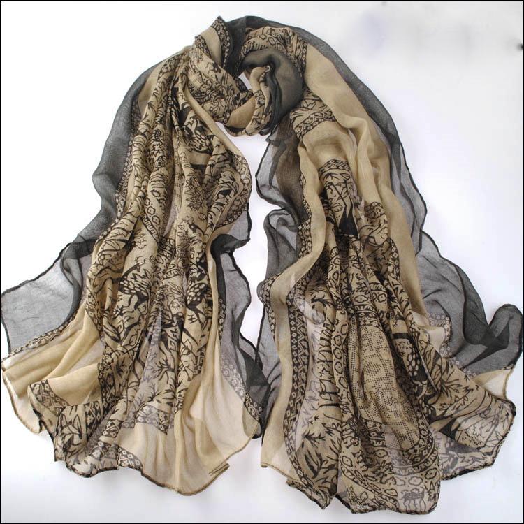 Beige Large Size Fashion Govi Design Voile Pashmina Shawl Scarf Wrap (3 Colors) a1404-739