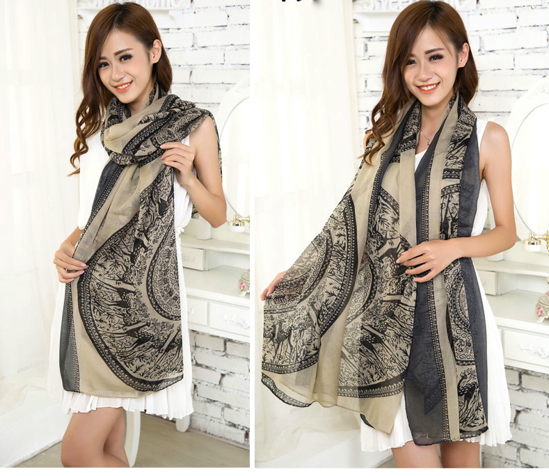 Beige Large Size Fashion Govi Design Voile Pashmina Shawl Scarf Wrap (3 Colors) a1404-740