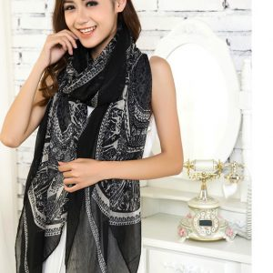 Black Large Size Fashion Govi Design Voile Pashmina Shawl Scarf Wrap (3 Colors) a1408-187