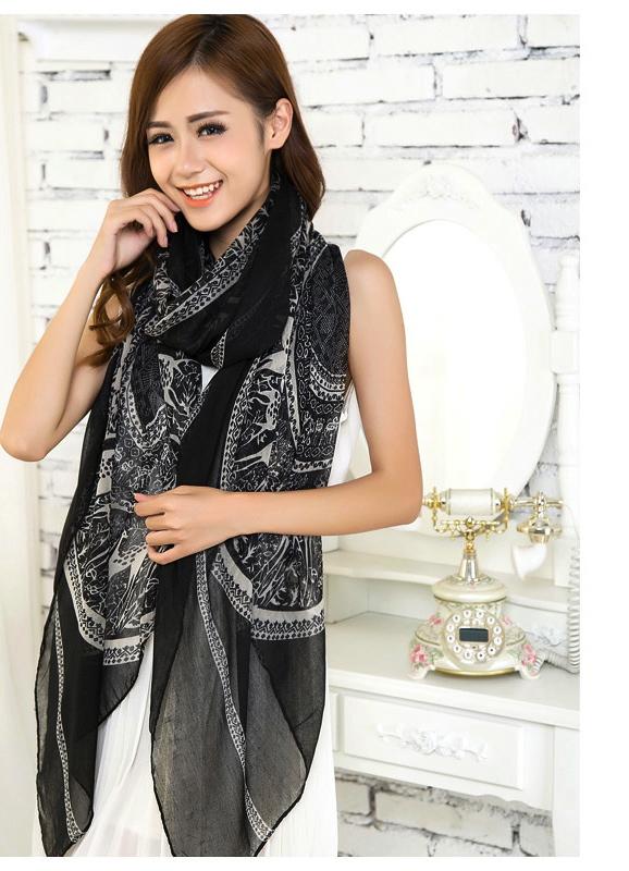 Black Large Size Fashion Govi Design Voile Pashmina Shawl Scarf Wrap (3 Colors) a1408-187