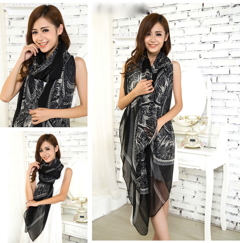 Black Large Size Fashion Govi Design Voile Pashmina Shawl Scarf Wrap (3 Colors) a1408-400