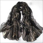 Black Large Size Fashion Govi Design Voile Pashmina Shawl Scarf Wrap (3 Colors) a1408-399