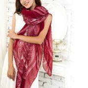Burgundy Red Large Size Fashion Govi Design Voile Pashmina Shawl Scarf Wrap (3 Colors) a1412-279