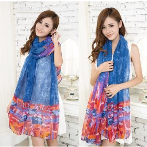 Blue Multi Color Arhangay Design Voile Pashmina Shawl Scarf Wrap (6 Colors) a1558-795