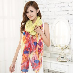 Yellow Multi Color Arhangay Design Voile Pashmina Shawl Scarf Wrap (6 Colors) a1574-297