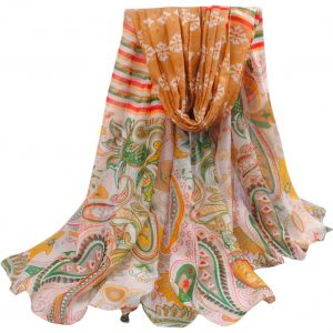 Brown & Green Multi Color Hovsgol Design Voile Pashmina Shawl Scarf Wrap (6 Colors) a1508-287