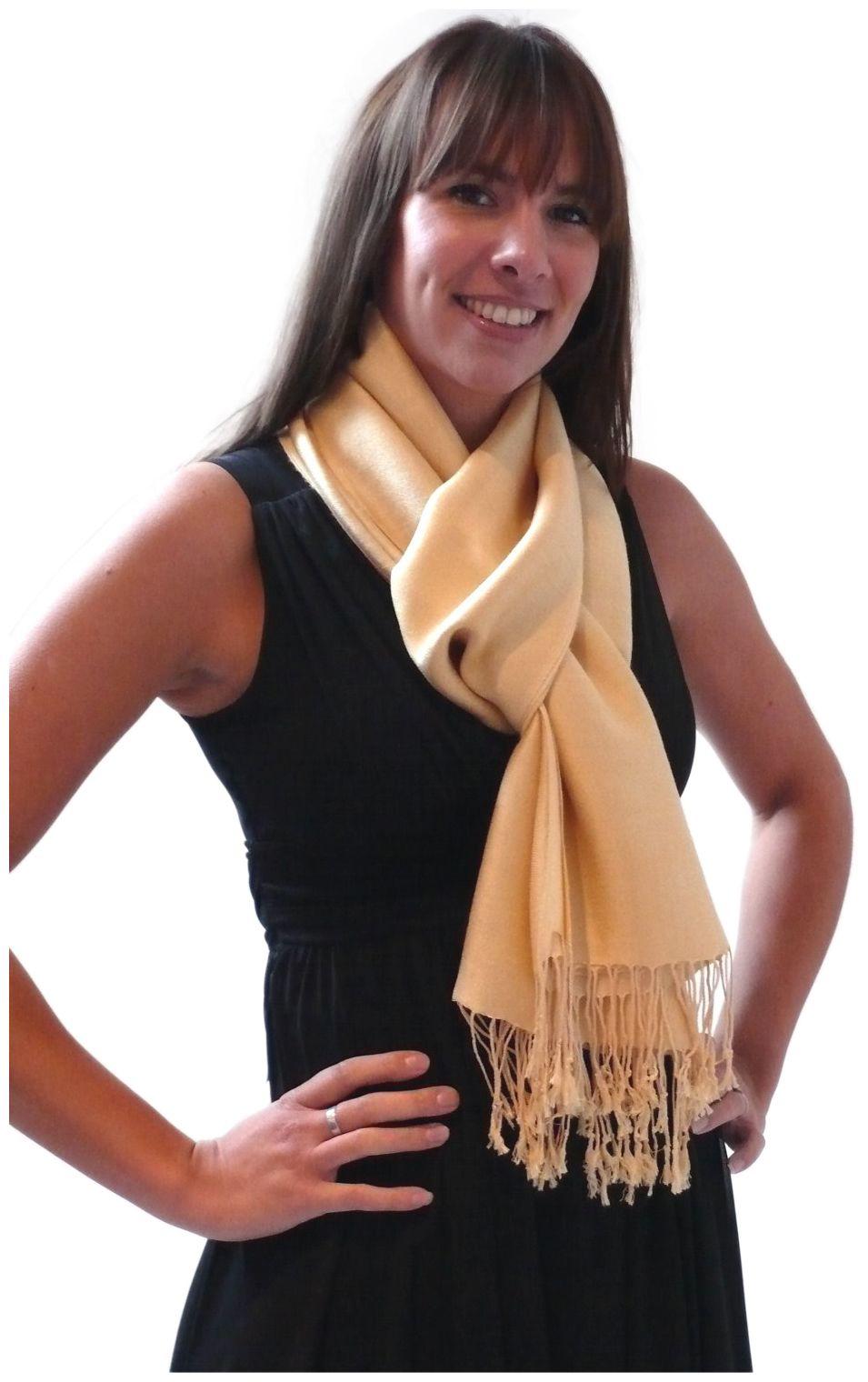 Rich Cream Solid Color Design Pashmina Shawl Scarf Wrap Pashminas Shawls Scarves Wraps NEW a1108-405