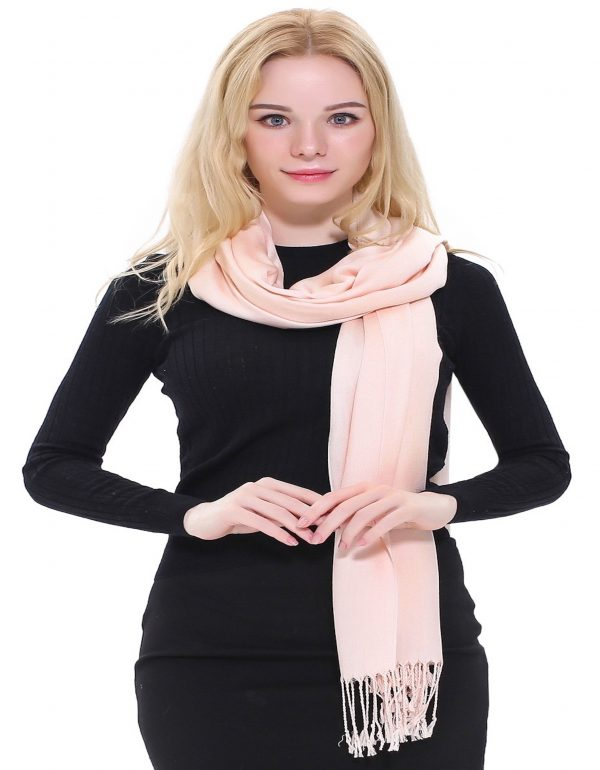 CJ Apparel Champagne Pink Solid Colour Design Shawl Scarf Pashmina Seconds *NEW*