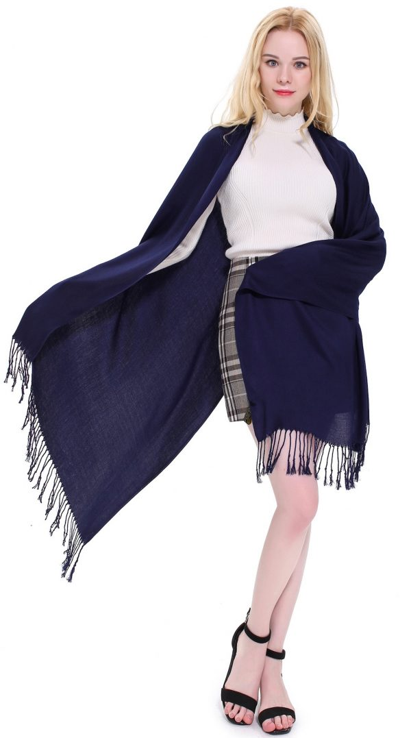 CJ Apparel Baby Blue Fringe Solid Colour Design Nepalese Shawl Seconds Scarf Wrap Stole Throw Pashmina Pashminas NEW